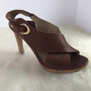 Via Spiga Brown Leather Strap Heels